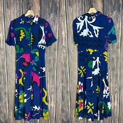DESIGUAL DRESS 36 Multicolor Unique Fun Women FLANDES ARTY PRINT Colorful Grunge $25.19