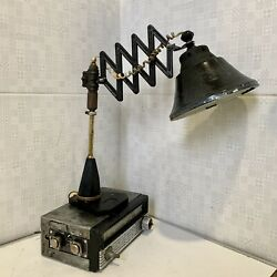 Handmade Vintage Table Scissor Lamp from 60s Steampunk Industrial $75.00