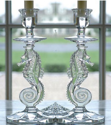 Waterford Pair Crystal Tall Candleholder Candle Holder Seahorse Candlestick New $275.00
