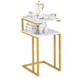 White Marble Print Side Table with Gold Metal Frame 2 Tier End Table Living Room $58.69