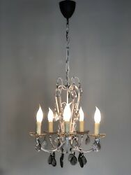 Vintage French Chandelier 5 Arm Ceiling Light With Glass Droplets GBP 175.00