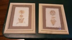 Floral topiary wall hanging pictures wood frames $8.45
