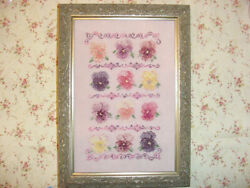 Pansy Flowers Cross Stitch Pattern Antique Shades Country Garden Stitchery $7.00
