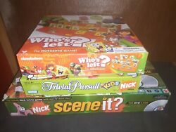 Lot of Nickelodeon Games For Parts Pieces Scene it Who#x27;s Left Trivial Pursuit $9.99