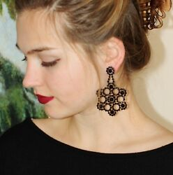 KATE SPADE NY Crystal Lace Floral CHANDELIER EARRINGS BLACK STATEMENT DRAMA DROP $129.99