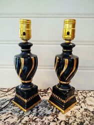 Vintage Pair Mid Century Black and Gold Boudoir Bedroom Lamps $74.99