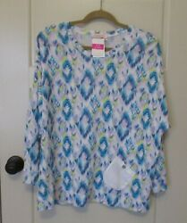Women#x27;s Fresh Produce WHITE Sunset Sky R amp; R Pullover Pocket Top NEW W Tags $27.99