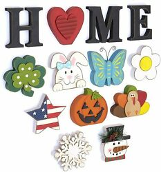 Wooden Decorative Home Signs with Letters Pumpkin Turkey Snowflake 13 Pc. $24.99