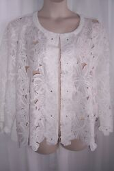 Women#x27;s Plus 3X White Embroidered Floral Lace Crepe Open Front Jacket Top NEW $27.99