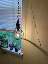 Black reclaimed contemporary pendant lamp with hanging chain $25.25
