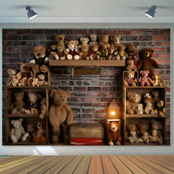 Kids Baby 1st Birthday Backdrop Toy Brick Wall Bear Photography Background Props $21.99