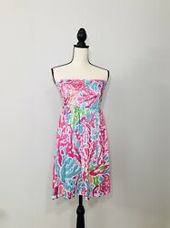 Size Small Medium Multicolor Bathing Suit Cover up Dress Tunic Pink Blue $28.99