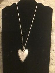 Lucky Brand Silver Tone Imitation Pearl Crystal Reversible Silver Heart Necklace $22.00