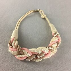 Vintage Cord Rope Braided Woven Belt Cream Pink Brown Hook End 29quot; Long $14.98