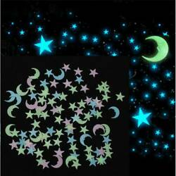 100X Glow in The Dark 3D Moon Stars Stickers Decal Ceiling Wall Bedroom DIY NEW $2.56