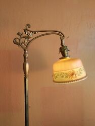 Antique Art Deco Floor Lamp Antique painted shade $250.00