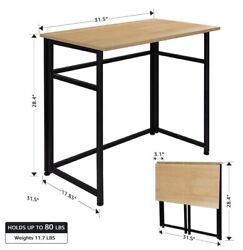 Folding Table Fold in Half Computer Desk Rectangle Laptop Table for small room. $48.99