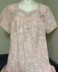 Vintage LL Bean Embroidered Lace Long Cotton Nightgown Size 2X Pink 0 XN53 $47.99