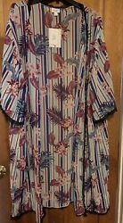 NWT Lularoe Tropical Floral Flowers Chloe Lace Kimono Bathing Cover up Large $17.00