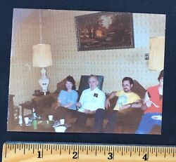 Vintage 80s PHOTO PICTURE PEOPLE IN A WALL PAPER ROOM SITTING ON A COUCH $4.99