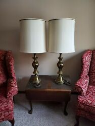 VINTAGE PAIR OF STIFFEL TABLE LAMPS HOLYWOOD REGENCY CLASSIC $130.00