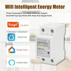 Single Phase Din Rail Wifi Power Consumption Watt Meter Alexa and Google Home $39.99