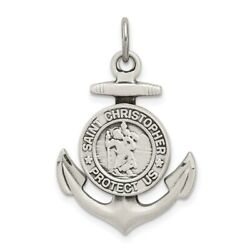 925 Sterling Silver St Christopher Nautical Anchor Ship Wheel Mariners Medal $44.45