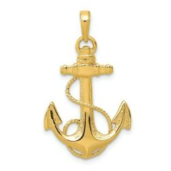 14k Yellow Gold Nautical Anchor Ship Wheel Mariners Rope Pendant Charm Necklace $189.45