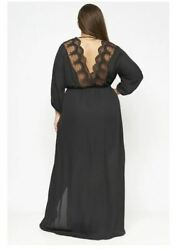 Womens Plus Size Black Maxi Dress 2X Long Sleeve Wrap Inspired Lace $29.95