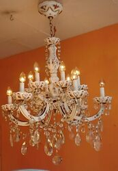 ANTIQUE 12 ARMS ITALIAN WHITE GLASS CHANDELIER MARIA THERESA ROSE DESIGN $900.00