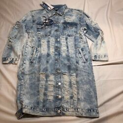 Thrill Women#x27;s Long Jean Jacket Blue Buttons Acid Wash Pockets Distressed L New $30.99