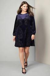 Eliza J Women's Plus Cocktail Navy Blue Burn Out Velvet A Line Dress Sz 16W $50.00