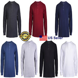 New Mens Thermal Henley Shirt T shirts Long Sleeve Cotton Pullover Comfy Button $16.95