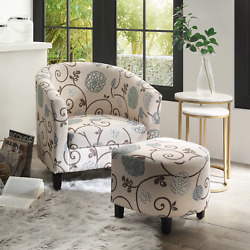 Upholstered Modern Living Room Barrel Accent Tub Chair with Ottoman Foot Rest $658.00