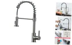 Kitchen Faucet Commercial with Pull Down Sprayer Stainless Steel spring silver1