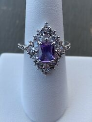 Ring Bomb Party Size 7 Light Amethyst And White Topaz Ring $19.00