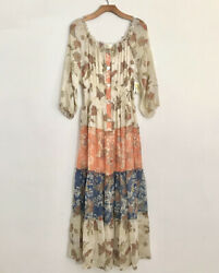 Anthropologie Maxi Long Boho Style Floral Dress L NWT $55.00