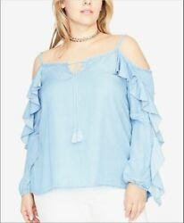 RACHEL Rachel Roy Trendy Plus Chambray Cold Shoulder Top $85 Size 3X $17.99