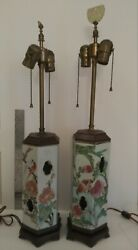 Antique Pair Chinese Porcelain Hexagonal Hat Stand late Qing Period table lamps $595.00