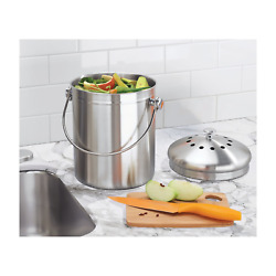 Kitchen Compost Bin Double Filtration 1.3 Gal Leakproof Brushed Stainless Steel $53.49