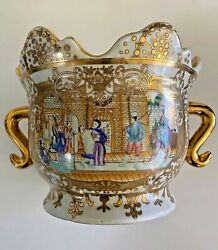 Vintage Oriental China Cache Pot Painted Scene White Gold $59.99