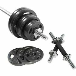 Home Muscle Barbell Weight Set with Dumbbell Handles Standard Size Plates 110LB $49.99