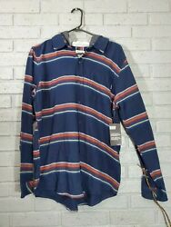 NWT Hurley Mens Portland Stripe Flannel Navy Striped Hooded Button Shirt Size M $40.00