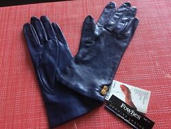 NAVY BLUE GENUINE LEATHER GLOVES NWT SIZE 7 1 2 SILK LINED $32.00