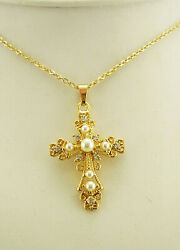 Jackie Kennedy Crystal and Faux Pearl Cross Pendant Necklace G $24.50