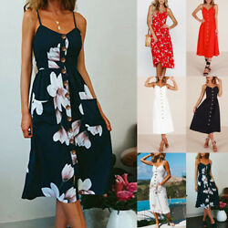 Women#x27;s Holiday Floral Strappy Pocket Ladies Summer Beach Midi Swing Sun Dress $9.99