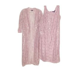 Roaman's Dusty Pink Lace Sequins Dress amp; Jacket 16W New Cocktail Plus Size $41.99