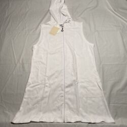 Dotti Womens Sail Away Anchor Hooded Cover Up Swim Dress White Zip Up M New $17.99