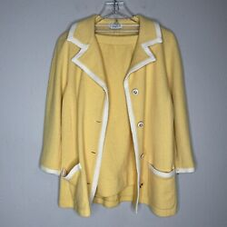 St. John Collection Yellow White Skirt Suit Set Size 14 $150.00