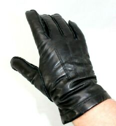 Lord amp; Taylor Men's Black Leather Gloves Cashmere Lined Size Large EUC $25.00
